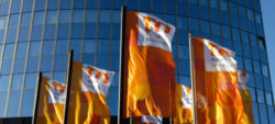 Photo: Messe Düsseldorf flags in front of trade fair entrance