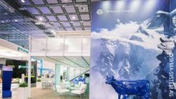 Image: exhibition stand mainly in blue and white; copyright: SYMA-SYSTEM AG